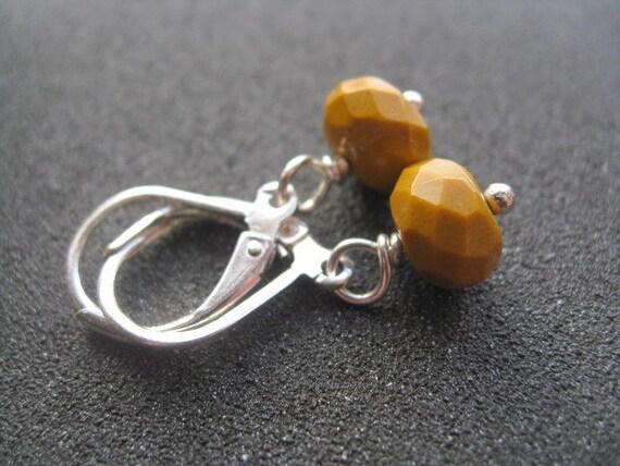 mustard yellow earrings. mookaite jewelry.
