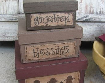 Primitive Country Gingerbread Square Stacking Boxes Handmade GCC04896