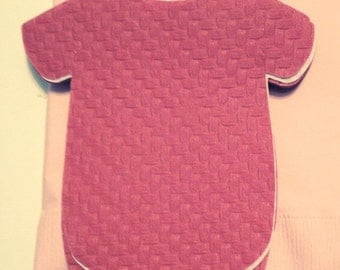 Any quantity baby shower or 1st birthday shirt shaped or bib shaped napkins in deep coral.