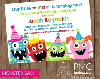 Silly Monster Bash Birthday Invitations - 1.00 each with envelope