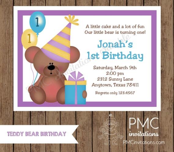 Custom Printed Teddy Bear Birthday Invitations - 1.00 each with envelope