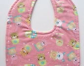 Ready To Ship Reversible Pink Baby Girl Bib - Baby Animals in Teacups Baby Girl Bib - Toddler Baby Girl Bib