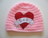 Ready To Ship Crocheted Pink Tattoo Baby Girl Hat -  I Heart Dad Baby Girl Hat - 3 to 6 Months