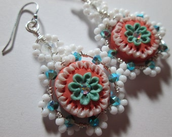 Lovely coral and turquoise dangle earrings beaded handmade clay