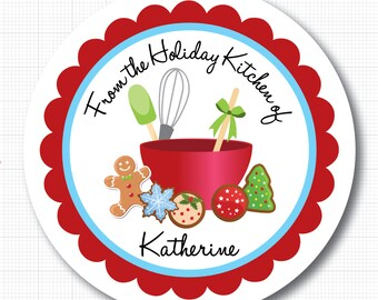 Personalized Christmas Cookies Stickers, Baking Labels or Tags