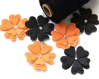 12 Halloween Paper Flower Embellishments in Orange & Black