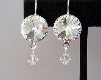 Clear crystal bridal earrings, Swarovski crystal Rivoli, 14mm round clear crystal drop earrings, dressy crystal, wedding