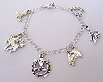 Horse theme charm bracelet or horse necklace, cowgirl western charms, boot, saddle, horseshoe, antiqued silver