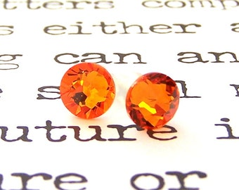 Tangerine Swarovski crystal stud earrings, bright orange Swarovski 7mm studs, tangerine flat back, citrus orange posts