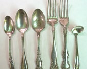 6 Pieces Antique Silver Plate Flatware for crafts reporposing jewelry making or eclectic table use