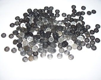 250 Small, Matching, Gray Buttons, Lot SB-7 (Free US Shipping)