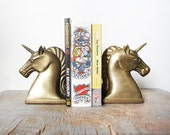 unicorn bookends / vintage brass unicorn bookends / large bookends