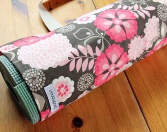 Yoga Bag, Pilates Mat Bag, Pink and Brown Floral Yoga Bag