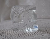 Owl Ice Sculpture/Vintage Swedish Lead Crystal Glass Paperweight
