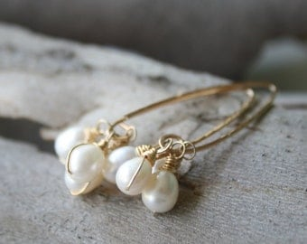 Pearl Cluster Earrings, Long Gold earrings with white pearls, Bridal pearl earrings, 14 Karat gold filled, wire wrapped gold jewelry