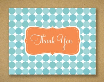 Aqua and Orange Thank You Cards on Recycled Stock - Tabitha