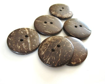 6 Brown Coconut Big Buttons 30mm - Natural Wood and Eco Friendly  (BC603F)