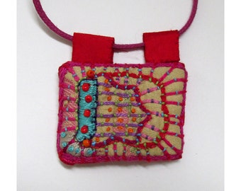 Rectangle Colorful and Happy Hand Embroidered  Necklace with Beads