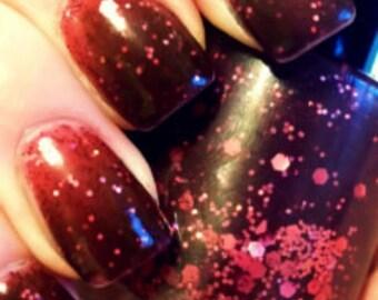 Color Changing Nail Polish-Mood Nail Polish - Glitter - CHERRY BOMB - Custom Blended Polish/Lacquer - 0.5 oz Full Sized Bottle