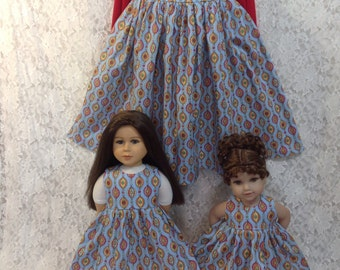 Blue Ornaments - Matching dress for Child sz 7 8 9 10 12 and American Girl or My Twinn or Bitty Baby - sewnbyrachel