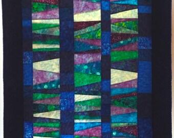 Batik Blues Vertical Wall Hanging