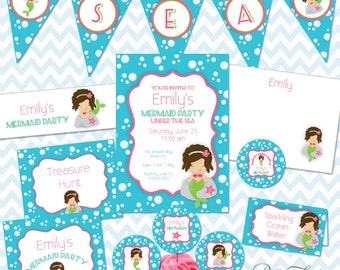 Mermaid Party Printables Instant Download - The Emily Collection