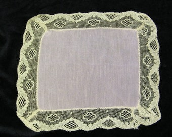 "Vintage 8"" Pink Silk and Ecru Lace Ladies Pocket Square Handkerchief, Hankie, Hanky, Scarf, Scarve, 9214"