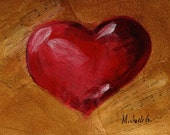 Original Fine Art Painting - Red Heart in Gold Background