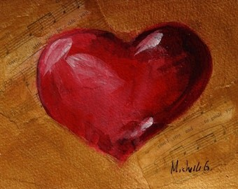 Original Fine Art Daily Painting - Red Heart in Gold Background, Home Apartment Decor Phantom of the Opera