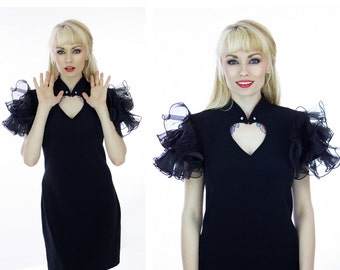 90s Party Dress 80s Black Ruffle Formal Event Bandage Bodycon Cocktail Vintage Heart Cut Out Top Harlequin Ruffles Small S Medium M