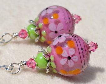 SWEETLY SUMMER-Handmade Lampwork and Sterling Silver Earrings