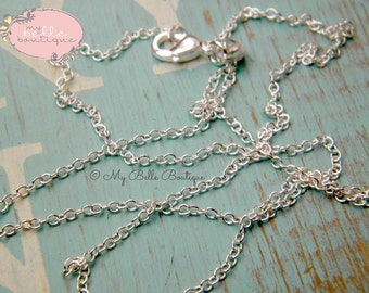 """20"""" CHAIN UPGRADE -- Silver Plated Rolo Chain with Lobster Clasp"""