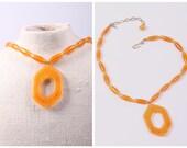 Crown Trifari lucite necklace vintage 1960s butterscotch tortoise jewelry mid century modern modernist pendant gift