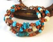 Copper Bracelet, Turquoise Jewelry, Southwestern Bracelet, Triple Strand Bracelet
