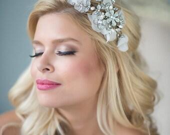 Wedding Hair Comb, Flower Hair Comb, Silk Blossom Hair Comb, Bridal Hair Comb, Crystal Pearl Hair Comb
