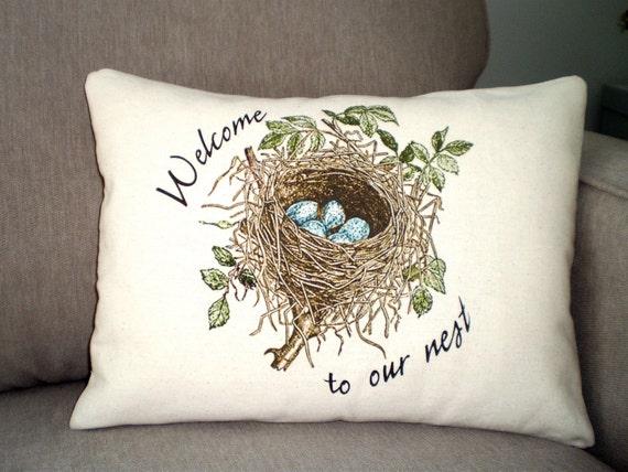Bird Nest Lumbar Pillow Cover Decorative Throw Pillow Birds