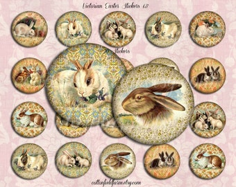 Victorian Easter Bunnies 1.5 Inch Stickers Set of 20 Peel and Stick for Tags, Seals, Scrapbooking, Cards, Gifts