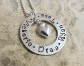 For Mother's Day -  Mommy Necklace - Sterling Silver  -  Mommy - Mother - Grandma -  Four Names Circle of Love