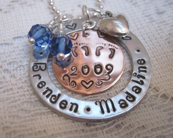 Mommy  of Twins Necklace -  New Mother of Twins Mixed Metal with Birthstones Choice of Sterling Silver Offered