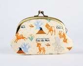 Metal frame coin purse - Eau de mer Deer on pale yellow - Big smile / Japanese fabric / Lovely Bambi and moles / baby blue orange grey