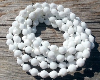 White Czech Cut Vintage Glass Beads 150 Pieces Jewelry Supply