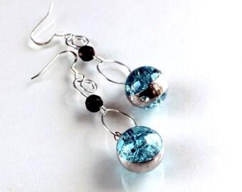 Aqua Crackle Marble Earrings - Stained Glass Jewelry Earrings