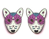 Sugar Skull Style English Bull Terrier Earrings in White by Dolly Cool Dog EBT Day of the Dead