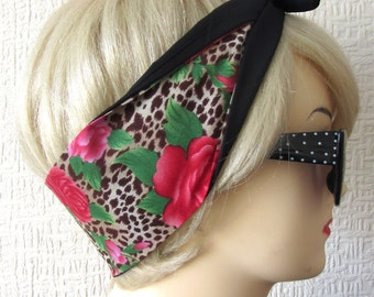 Leopard Print Hair Tie with Rose Rockabilly Scarf Wrap by Dolly Cool