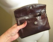 Vintage Dark brown leather wallet, rich brown leather clutch checkbook key fob, unisex slim brown leather coat tote wallet