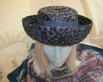 Vintage dark navy blue woven raffia hat, navy blue turned brim woven schoolgirl hat, Clover Lane hat size 22