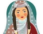 Armenian Girl Matryoshka Art Print, Kids Wall Art