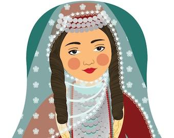 Armenian Wall Art Print features cultural traditional dress drawn in a Russian matryoshka nesting doll shape