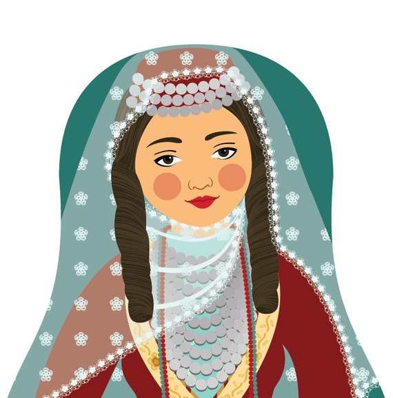 Armenian Wall Art Print features cultural traditional dress drawn in a Russian matryoshka nesting doll shape