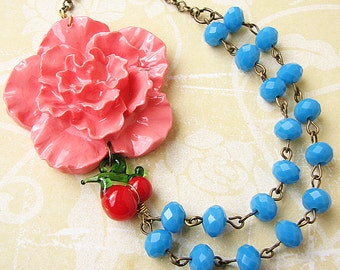 Flower Necklace Turquoise Jewelry Coral Necklace Statement Necklace Cherry Necklace Beaded Necklace Gift For Her